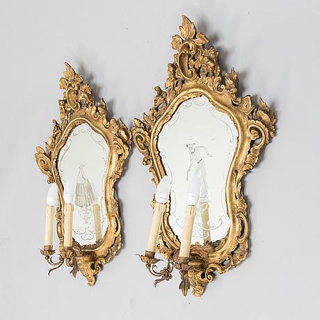 Peililampettipari, rokokotyyli, venetsia, 1900-luku.