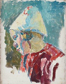 516. Carl Wilhelmson, Child wearing a hat (unfinished).