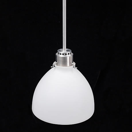 A late 20th century glass and metal ceiling lamp.