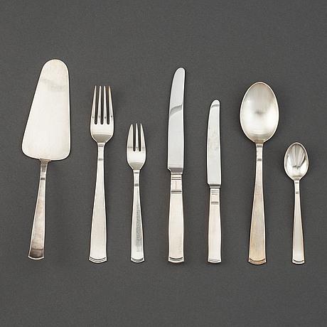 "Jacob ängman, a 66 piece ""rosenholm"" silver part flatware service, maker's mark gab, stockholm, 1960/70s."