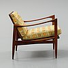 Ib kofod larsen, 'kandidaten' walnut easy chair, 1960's.