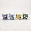 Muminmuggar, 4 st, porslin, moomin characters, arabia, 1990-1999.