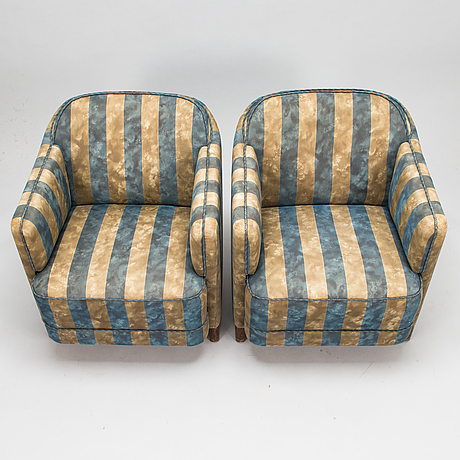 A pair of 1930's 'continent' nr 217 armchairs for asko.