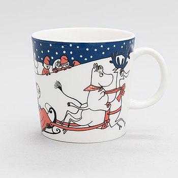 A 'Christmas greeting' Moomin mug, vitro porcelain, Moomin Characters, Arabia, Finland 1997-2002.