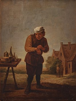 David Teniers d.y, follower of, oil on panel, wear signature T.