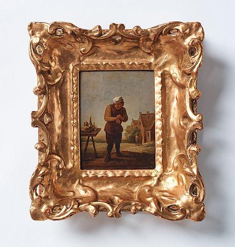 David teniers d.y, follower of, oil on panel, wear signature t.