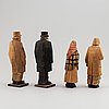 Four carl johan trygg wooden sculptures, two signed and dated 1918.