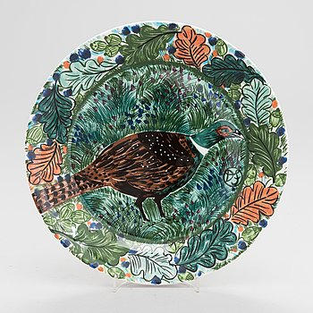 Dorrit von Fieandt, A ceramic plate, 'Hubertus', Pro Arte 1994, Arabia, Finland.