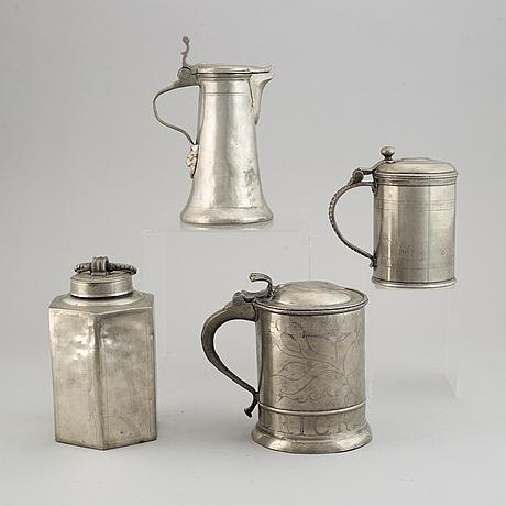 Bottle and tankards, pewter, including gustaf otto ekström, örebro 1862. (4 pieces).