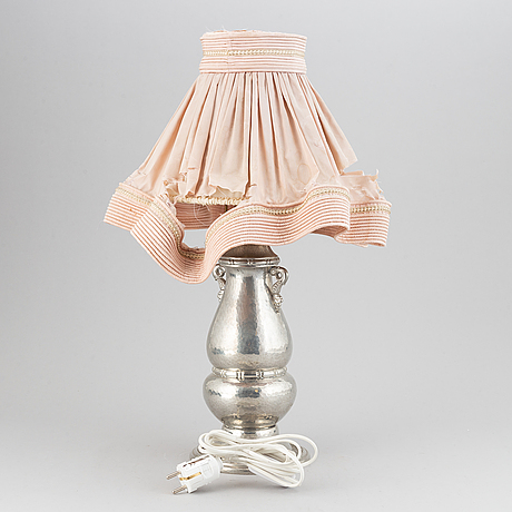 A pewter table lamp from gerotin, holland/denmark, first half of the 20th-century.