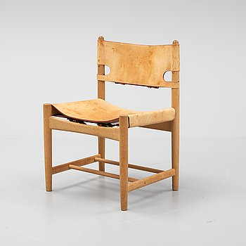 Børge Mogensen, a an oak and natural leather cgair, model 3237 Fredericia Stolefabrik, Denmark.