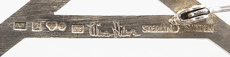 Wiwen nilsson. brosch, initialer al, lund 1963, sterling silver.