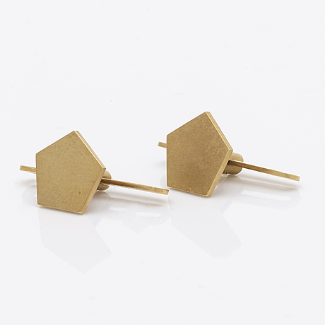 Wiwen nilsson, shirtstuds one pair 18k gold, lund 1962.