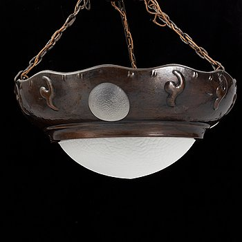 An Art Noveau ceiling light, early 20th century.