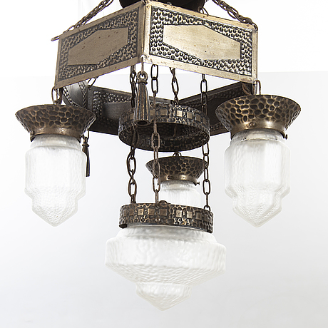 A jugend ceiling lamp around 1900.