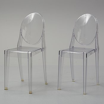 Phillippe Starck, a pair of 'Victoria Ghost' plastic chairs  for Kartell.