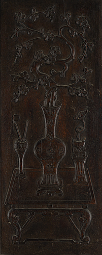 A chinese wooden panel, qing dynasty.