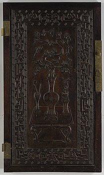 Panel/dörr, trä, Qingdynastin.