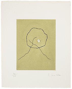 """761. Lucio Fontana, """"L'Épée dans l'eau"""" from """"Dix eaux-fortes"""" (Alain Jouffroy)."""