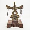Francine secretan, skulptur i brons och trä, signerad f.s. och numrerad 2/7.