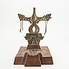 Francine secretan, a signed and numbered sculpture of bronze and wood.