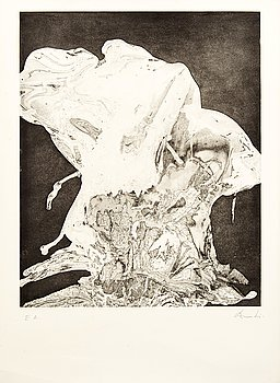August Puig, a signed etching.