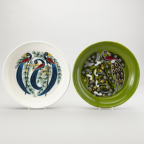Abbasy mbuka, a set of two painted tingatinga trays.