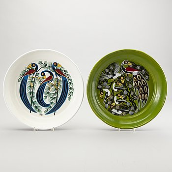 Abbasy Mbuka, a set of two painted Tingatinga trays.