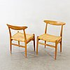Four model 'w2' oak chairs by hans wegner for c.m. madsen, denmark, designed 1953.