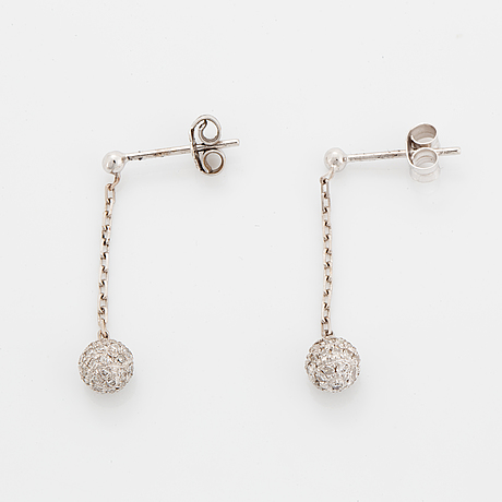 Eight-cut diamond ball earrings.