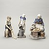 A set of three porcelain figurines bing & gröndahl later part of the 20th century.