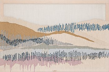 Riitta Kostamoinen, a tapestry signed RK and numbered 9 /50 for Helmi Vuorelma. Circa 100x150 cm.