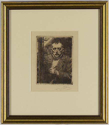 Anders zorn, etching, 1911, signed in pencil.