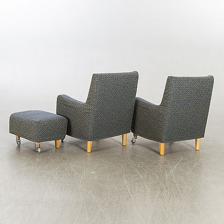 Erik jörgensen,  a pair of armchairs and a stool, later part of the 20th century.