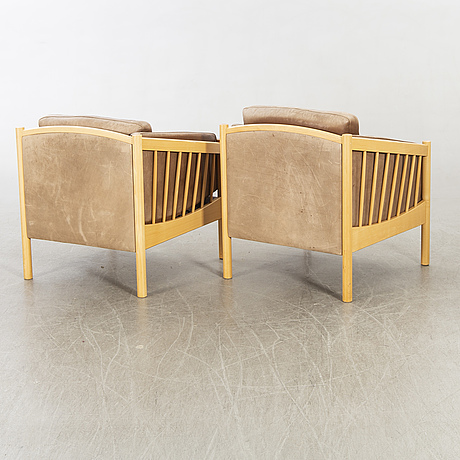 A pair of stouby armchairs denmark later part of the 20th century.