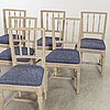 Chairs, 6 pcs, late gustavian provincial works early 19th century.