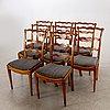 A set of eight english mahogany chairs around 1800.