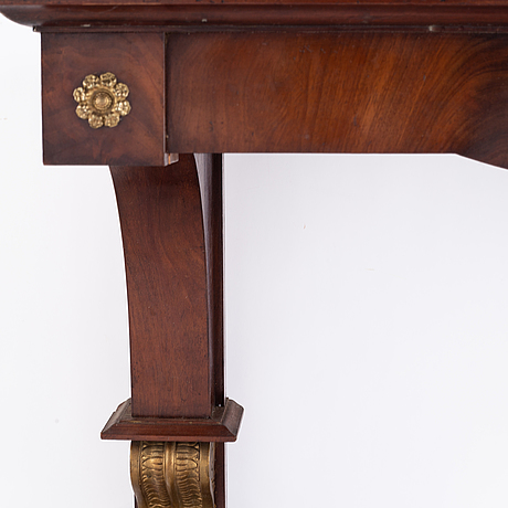 A swedish empire mirror and console table, first half of the 19th century.