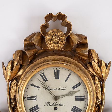 A swedish gustavian 18th century wall clock by j. hovenschöld.