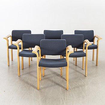 A set of six Rud Thygesen & Johnny Sorensen armchairs Denmark later part of the 20th century.