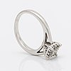 Ring 14k whitegold 1 princess-cut and brilliant-cut diamonds approx 0,30 ct in total.