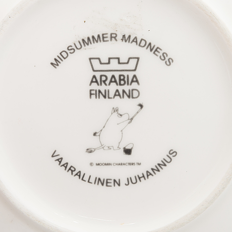 A moomin characters porcelain mug and a plate 'midsummer madness' arabia finland 2001-2003.