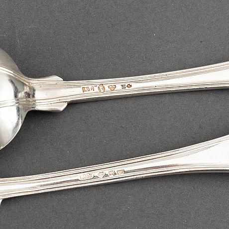 A part silver cutlery, 'gammal fransk', some cg hallberg 1890. (41 pieces).