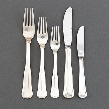 A part silver cutlery, model Gammal Dansk, Mema, Lidköping and Cohr Danmark. (51 pieces).