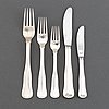 A part silver cutlery, model gammal dansk, mema, lidköping and cohr danmark. (51 pieces).