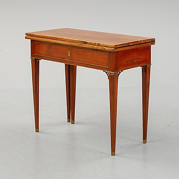 A late Gustavian mahogany card table, early 19th Century.