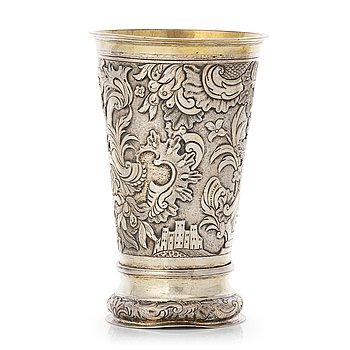 145. A Baltic 17th century parcel-gilt silver beaker, mark probably of Jacob Fleichman (Arensburg 1675-1698).