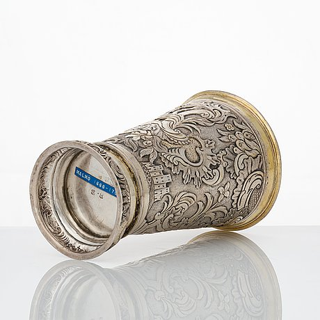 A baltic 17th century parcel-gilt silver beaker, mark probably of jacob fleichman (arensburg 1675-1698).
