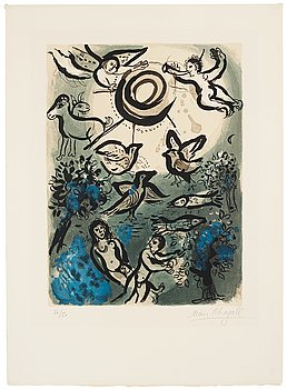 "753. Marc Chagall, ""Création"" from ""Drawings for the Bible""."