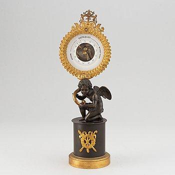 A gilt bronze barometor, Empire style, late 19th Century.